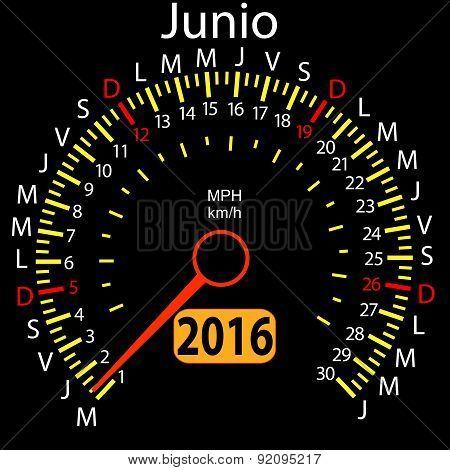 2016 year calendar speedometer car in Spanish, June. Vector illu