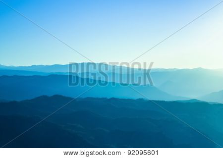Blue mountains with sunlight in Chiangmai, Thailand