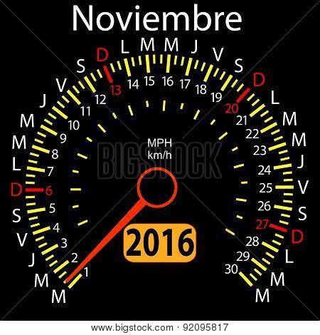 2016 year calendar speedometer car in Spanish, November. Vector