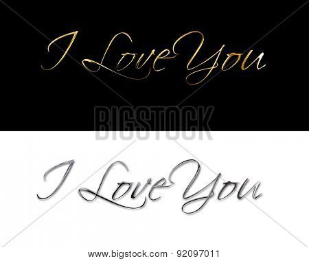 I love you Font Type   silver   gold