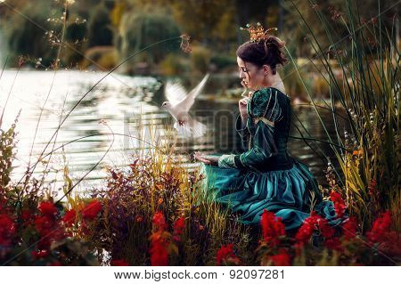 Princess beside a stream