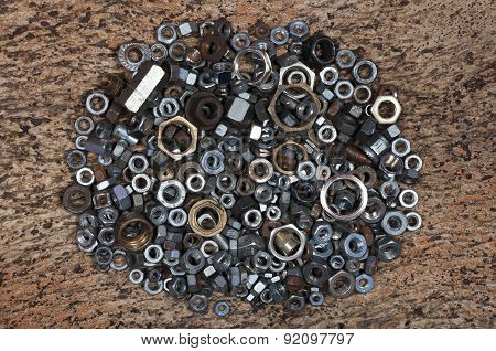 many different washers and nuts