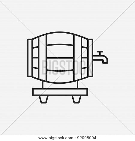 Wine Barrel Line Icon