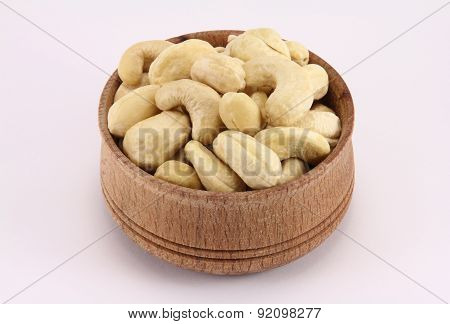 Cashews In A Round Wooden Form
