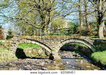 Thirteenth Century packhorse bridge in Wycoller, Lancashire.