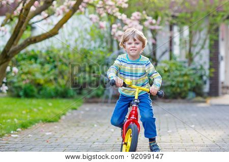 Adorable Little Kid Boy Driving His First Bike Or Laufrad