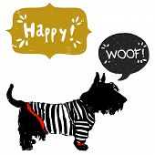 pic of scottish terrier  - Hand drawn sketch Scottish terrier in a sailor shirt isolated on white background with speech bubbles for the text - JPG