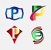 picture of letter p  - Vector illustration of abstract icons based on the letter P - JPG