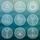 Постер, плакат: Set of linear yoga icons yoga logos in outline style