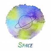 picture of astronomy  - Planet Space Astronomy Vector Watercolor Concept - JPG
