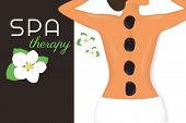 picture of stone-therapy  - Spa therapy illustration of woman relaxing with black stones on her back - JPG