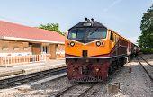 picture of locomotive  - Diesel electric locomotive of the express train on station platform - JPG