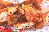 image of fried chicken  - Fresh fried chicken on a plate set - JPG