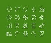 stock photo of waste reduction  - Thin lines icons set of ecology nature and environment conservation green energy efficiency electricity power consumption - JPG