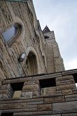 stock photo of carmelite  - Looking up at the belfry of the abandoned Saint Mary Carmelite Church in downtown Joliet - JPG