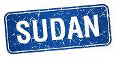 stock photo of sudan  - Sudan blue stamp isolated on white background - JPG