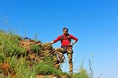 image of mountain-climber  - young rock climber on mountain - JPG