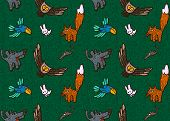 picture of rats  - vector seamless pattern with different hand drawn illustrations of forest animals and birds such as wolf - JPG