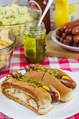 stock photo of condiment  - Grilled hot dogs on a paper plate sitting on a table with potato salad chips and condiments - JPG
