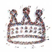 image of crown jewels  - A large group of people in the shape of a crown - JPG