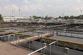 picture of aerator  - Wastewater treatment plant aerating basin - JPG
