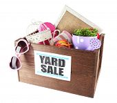 picture of yard sale  - Box of unwanted stuff ready for yard sale isolated on white - JPG