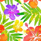 picture of hawaiian flower  - Bright watercolor tropical flowers vector seamless pattern tile - JPG