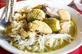 foto of curry chicken  - Kanom jeen green curry with chicken  - JPG