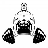 stock photo of barbell  - Vector muscle man bodybuilder holding a large barbell with big weights - JPG