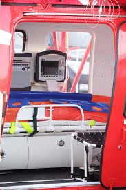 picture of ambulance  - cabin of an ambulance helicopter - JPG