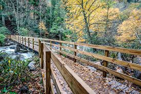 image of smoky mountain  - Bridge to Chimney Tops Trail in the Great Smoky Mountains National Park
