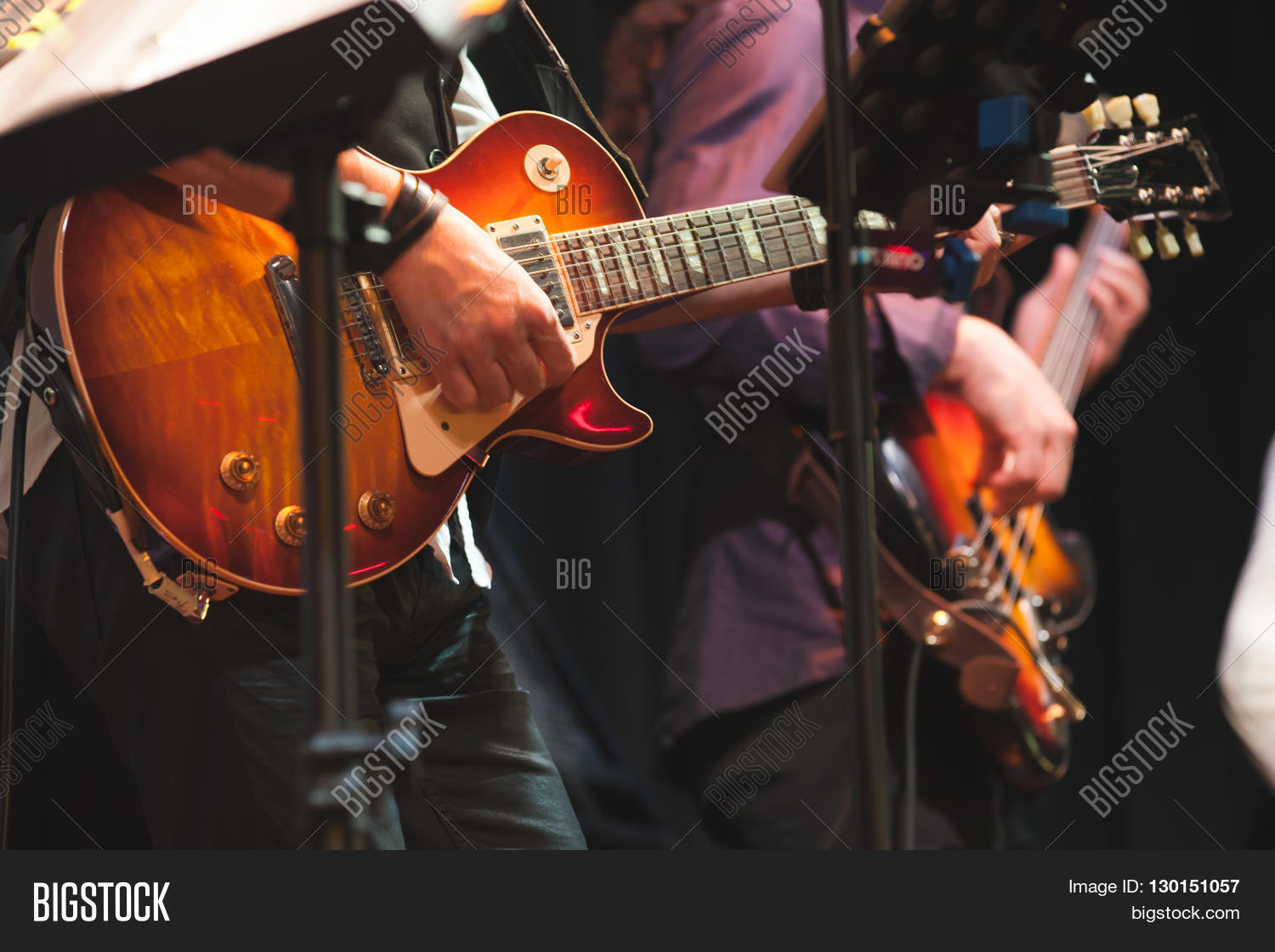 Rock And Roll Music Background, Guitar Players Stock Photo ...