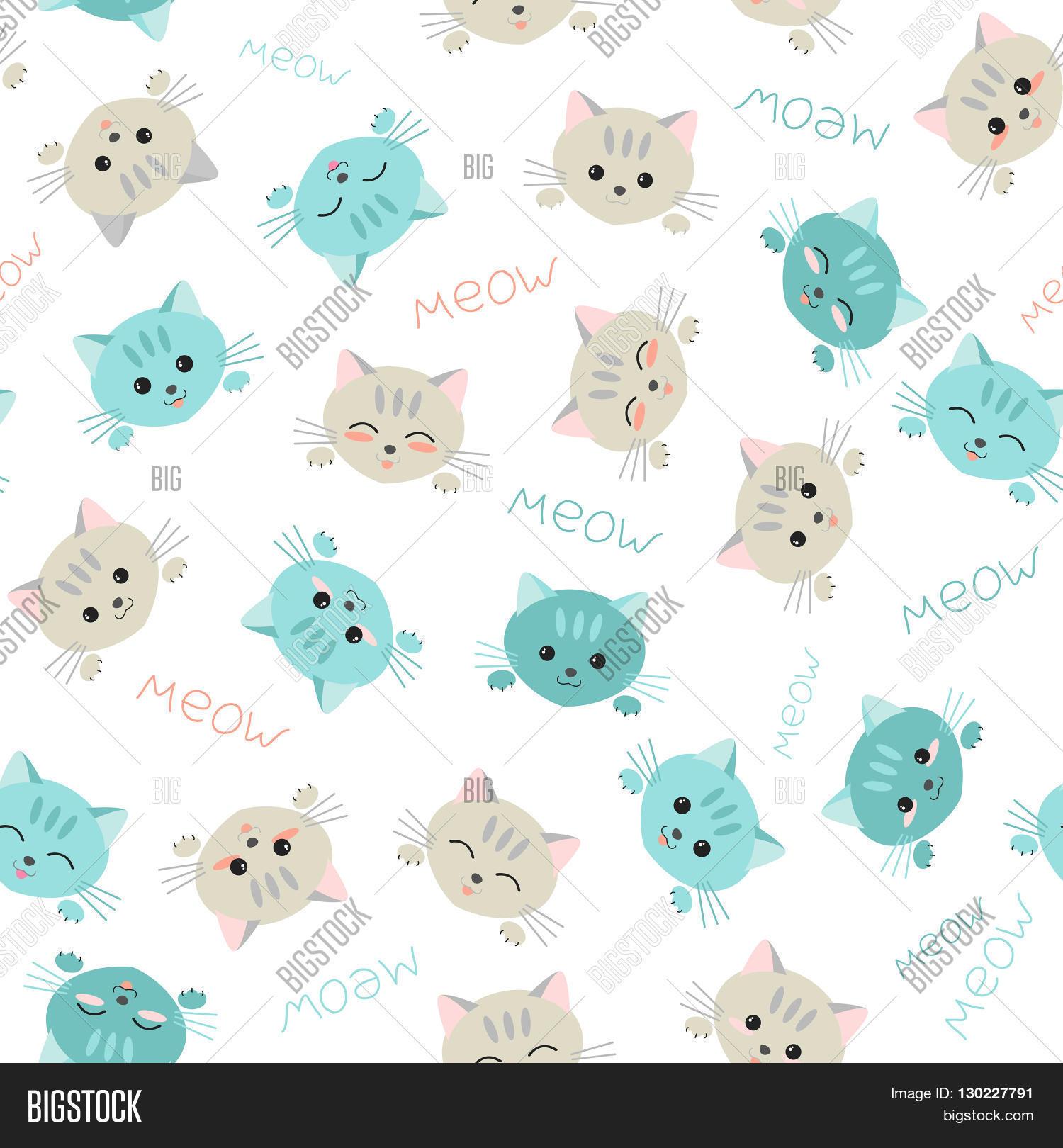 Seamless kitten background. Japanese manga style. Illustration with cute cats. Kawaii joyful pets
