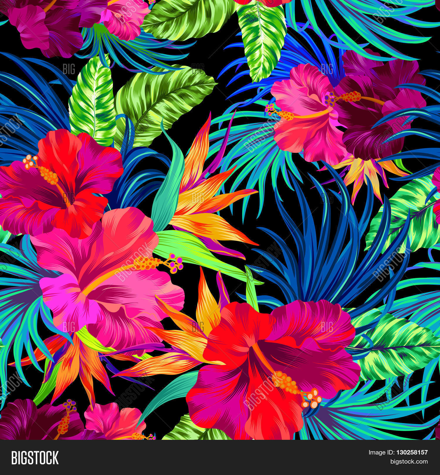 Seamless Vector Pattern Hibiscus Vector Amp Photo