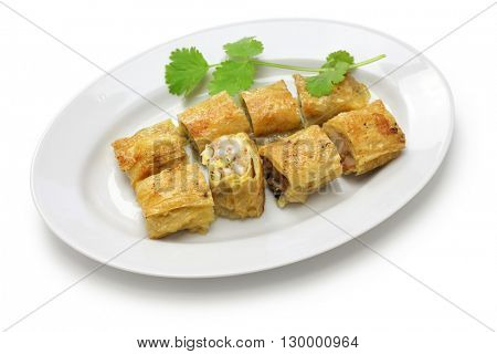 fried shrimp tofu ( bean curd ) skin rolls, chinese dim sum food
