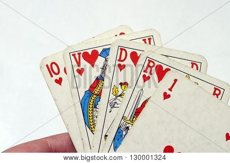 Close up of heart Flush poker hand at poker card game