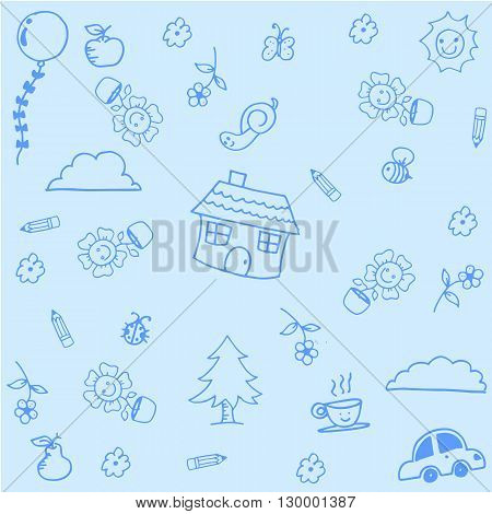House doodle art with blue backgrounds for kids