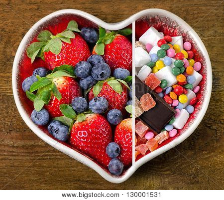 Healthy And Unhealthy Sweet Food.