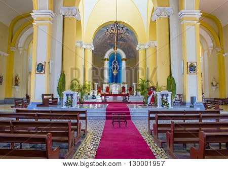 GRANADA NICARAGUA - MARCH 20 : The interior of Granada cathedral in Granada Nicaragua on March 20 2016. The original church constructed in 1583 and was rebuilt in 1915