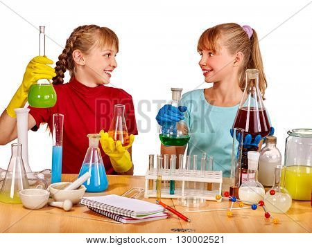 Kids holding flask in chemistry on isolated. Chemistry experiment. Isolated.