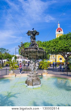 GRANADA NICARAGUA - MARCH 20 : Fountain in the center of Granada Nicaragua on March 20 2016. Granada was founded in 1524 and it's the first European city in mainland America