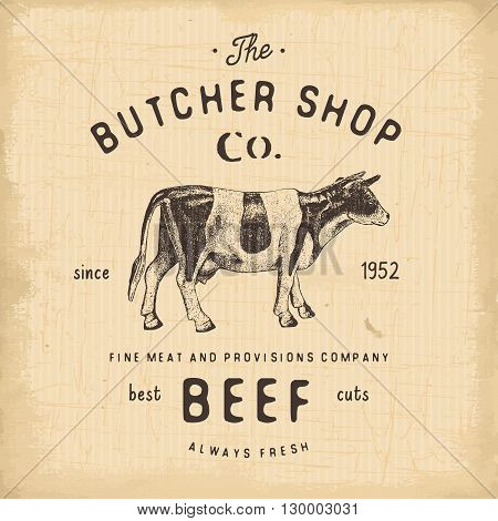 Butcher Shop Vintage Emblem Beef Meat Products, Butchery Logo Template Retro Style. Vintage Design F