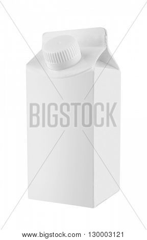 Milk and juice white carton package, isolated on white background