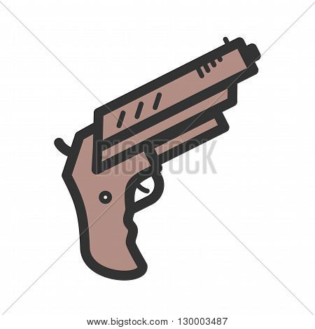 Gun, pistol, shot icon vector image. Can also be used for games entertainment. Suitable for use on web apps, mobile apps and print media.