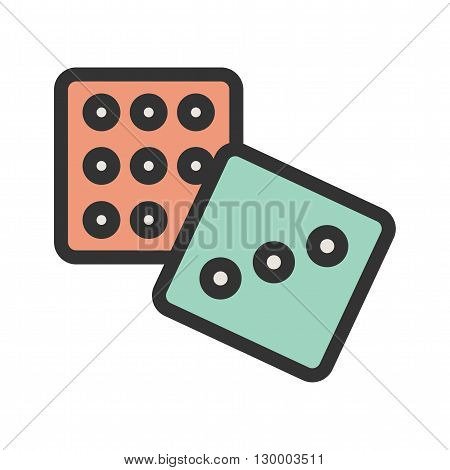 Dice, gambling, game icon vector image.Can also be used for games entertainment. Suitable for mobile apps, web apps and print media.