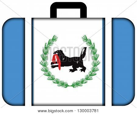 Flag Of Irkutsk Oblast. Suitcase Icon, Travel And Transportation Concept