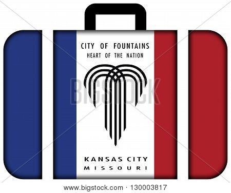 Flag Of Kansas City, Missouri. Suitcase Icon, Travel And Transportation Concept