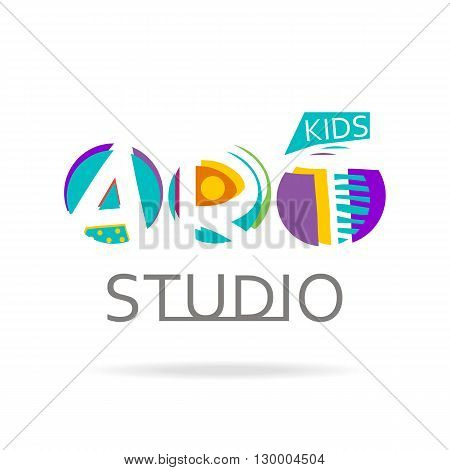 Logo design template for kids art studio gallery school of the arts. Creative art logo isolated on white. Vector illustration.