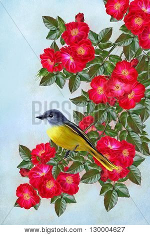 small yellow bird sitting on a branch of flowers with red roses