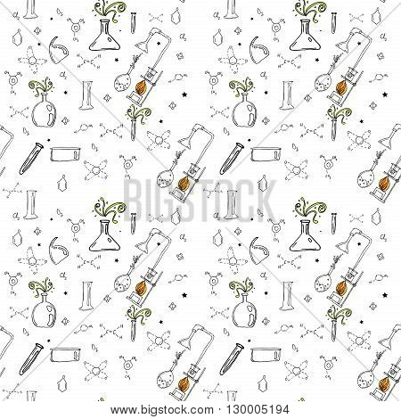 Raster seamless pattern with hand drawn glass flasks. Uncolored bottles. Chemistry pattern.
